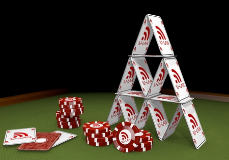 wlan: Red  isolated wifi 3d graphic with fragile w-lan symbol  on the casino table Stock Photo