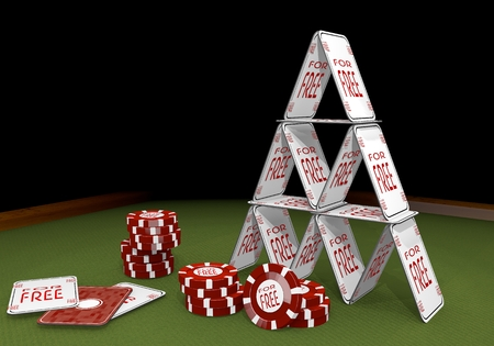 deduction: Red  isolated deduction 3d graphic with fragile free sign  on the casino table