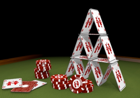 risky love: Red  balanced boy 3d graphic with balanced partnership sign  on the casino table Stock Photo