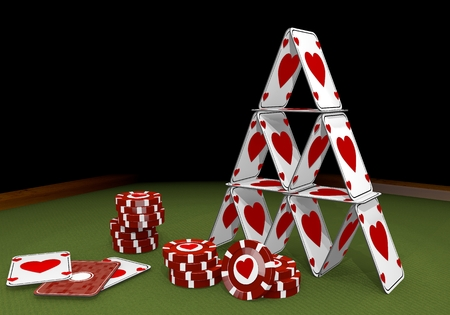 risky love: Red  loving partnership 3d graphic with fragile heart sign  on the casino table
