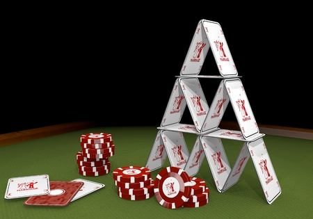 risky love: Red  wedding card 3d graphic with wedding marriage sign  on the casino table Stock Photo