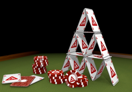 balanced: Red  balanced job 3d graphic with balanced construction site symbol  on the casino table