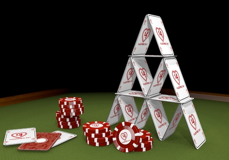 risky love: Red  isolated risky 3d graphic with balanced valentines day sign  on the casino table