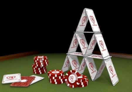 risky love: Red isolato rischioso grafica 3d con San Valentino equilibrati giorno segno sul tavolo del casin� Archivio Fotografico