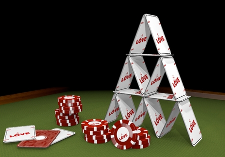 risky love: Red  flourish flower 3d graphic with flourish love sign  on the casino table