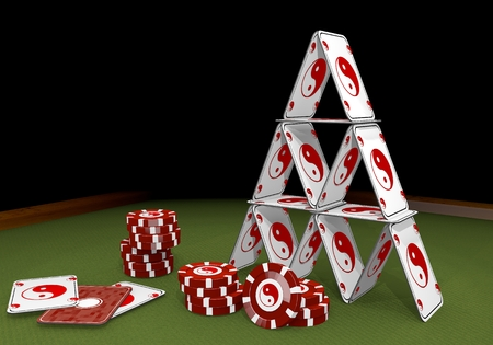 risky love: Red  balanced balance 3d graphic with harmonical ying yang icon  on the casino table