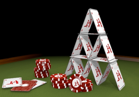 Red  fragile marry 3d graphic with proposing proposal of marriage icon  on the casino table