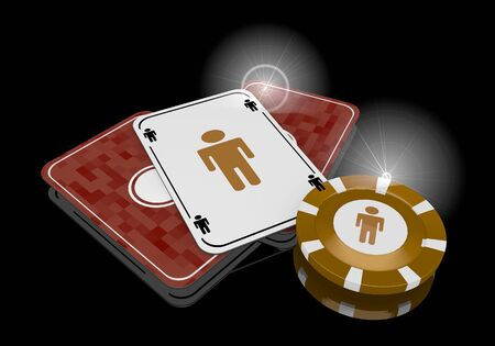 glaring: Pastel gray  glaring casino 3d graphic with exclusive man icon  on poker cards