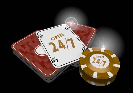 Pastel gray  golden metaphor 3d graphic with glaring open icon  on poker cards photo