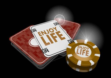 enjoy life: Pastel gray  noble metaphor 3d graphic with exclusive enjoy life sign  on poker cards
