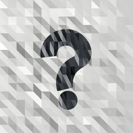 unresolved: black white low poly question sign with unusual triangle background  Stock Photo