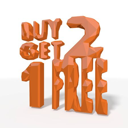 get one: buy two get one free icon in low poly 3d style for different illustrations isolated on white background