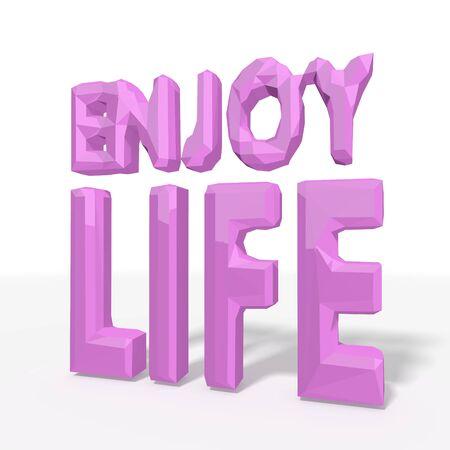 enjoy life: godere simbolo di vita in low poly stile 3d per le illustrazioni geometriche isolato su sfondo bianco Archivio Fotografico