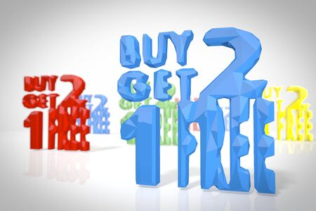 get one: buy two get one free symbol in a low poly 3d scene in origami style for different illustrations isolated on white background Stock Photo