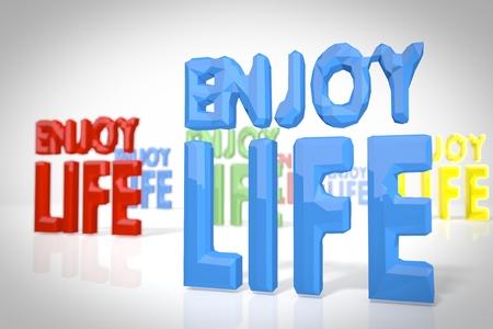 enjoy life: godere simbolo della vita in una scena 3D low poly in stile origami per le illustrazioni insolite isolato su sfondo bianco