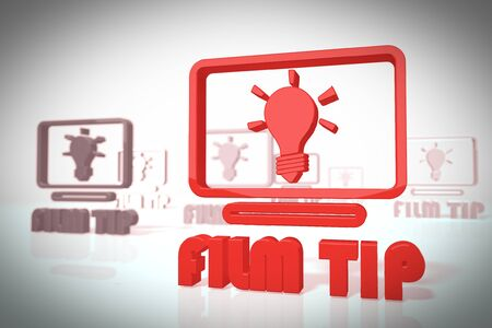 critique: film tip symbol in a stylish 3d scene in retro style for design illustrations isolated on white background