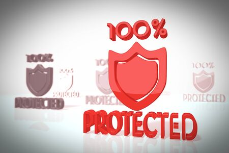 shielded: protected icon in a stylish 3d scene in retro style for creative illustrations isolated on white background