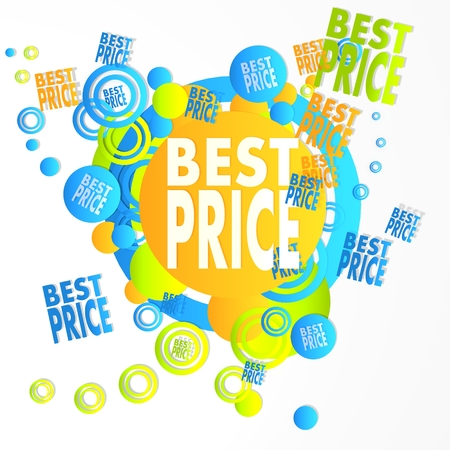 lowest: lowest price art best price symbol in front of a happ party art background with flying best price icons isolated on white background