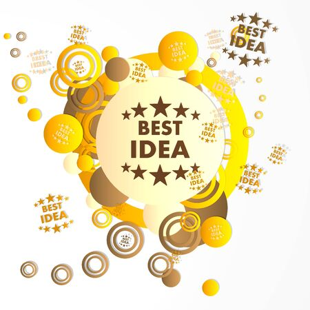 think tank: modern art best idea symbol in front of a happ party art background with flying best idea icons isolated on white background Stock Photo