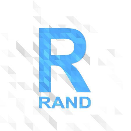 rand: 3d illustration low poly of South Africa Rand isolated on trendy white triangle background