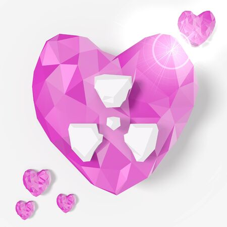 risky love: love heart atom symbol in low poly 3d style for romantic illustrations isolated on white background