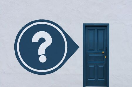 unresolved: concept image of a closed blue entry door in a white wall with a question on the left side