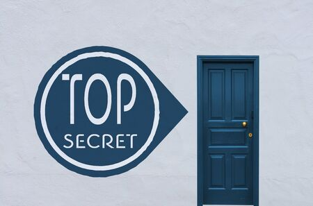 arcane: concept image of a nostalgia blue entry door in a white wall with a top secret sign on the left side