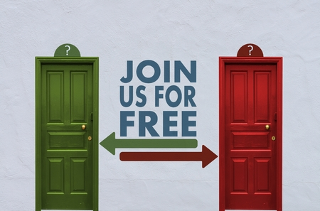 where is the join us behind the red or the green door? A concept image showing two closed doors with a join us icon painted on the wall in between photo