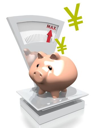 max: illustration of a money Japan Yen pig with max weight on a scale isolated on white background Stock Photo