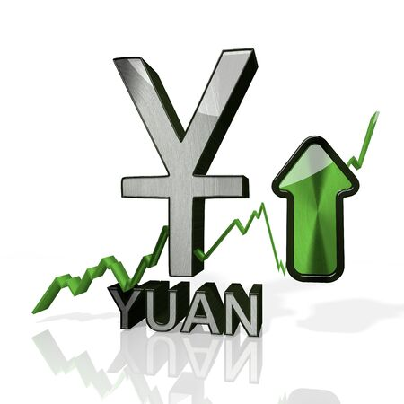 3d rendered symbol of China Yuan Renminbi currency with up stock market trend arrows in stylish silver metal isolated on white background photo