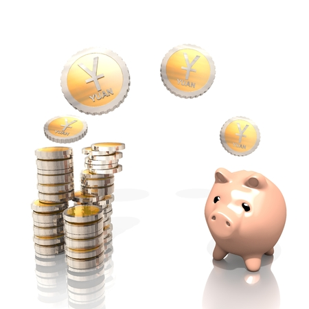 renminbi: a 3d rendered money pig saves China Yuan Renminbi coins isolated on white background Stock Photo