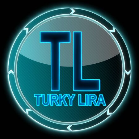 electronic round button with a Turkey Lira icon on it and circular arrows on black background photo