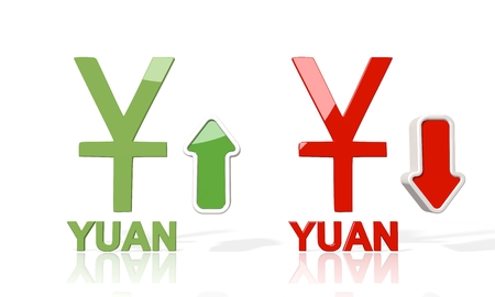 3d icon of China Yuan Renminbi symbol with up and down stock market forex trend arrows isolated on white background