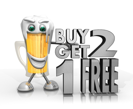 get one: beer character presents a buy two get one free symbol isolated on with background in 3d rendered style