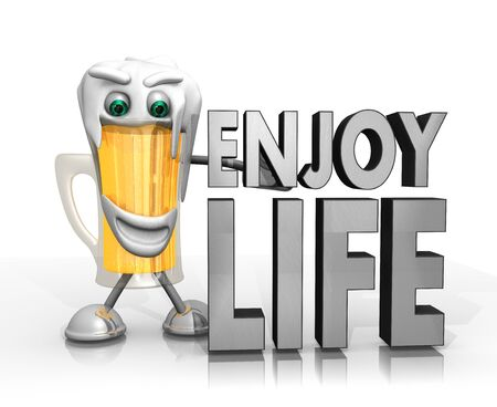 enjoy life: beer character presents a enjoy life sign isolated on with background in 3d rendered style