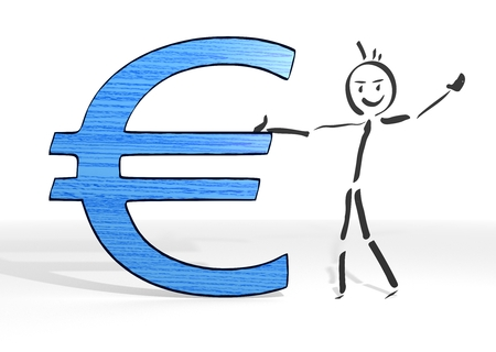 simple stick man presents a Euro symbol white background