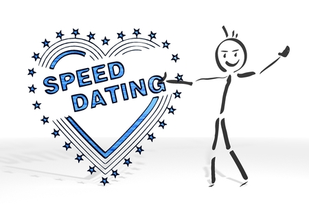 speed dating: simple stick man presents a speed dating sign white background