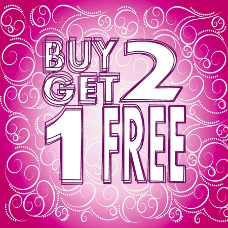 modern fresh pink buy two get one free symbol with romantic lovely pink ornament background  Stock Photo