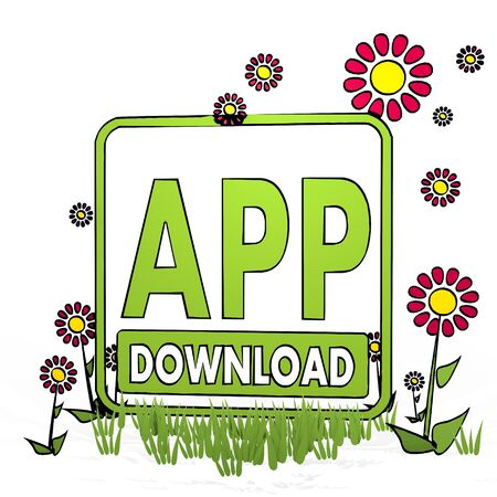 spring flower hand drawn sketch of app download with cute flowers on white background Stock Photo