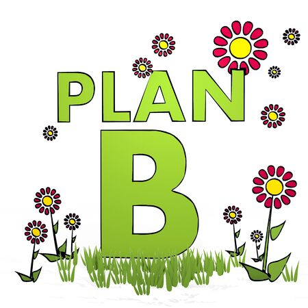 spring flower hand drawn sketch of plan b with simple flowers on white background