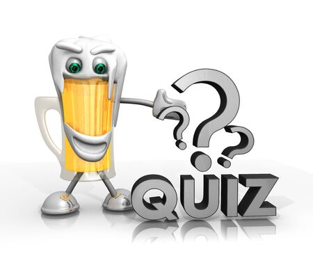 beer character presents a quiz symbol isolated on with background in 3d rendered style photo