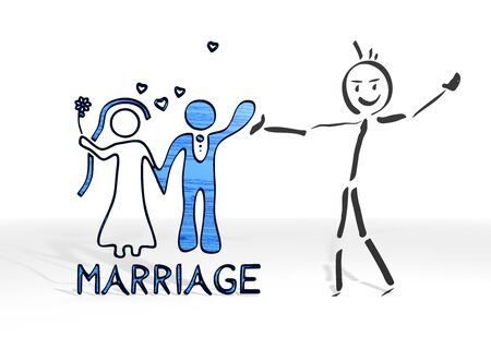 simple stick man presents a marriage sign white background photo