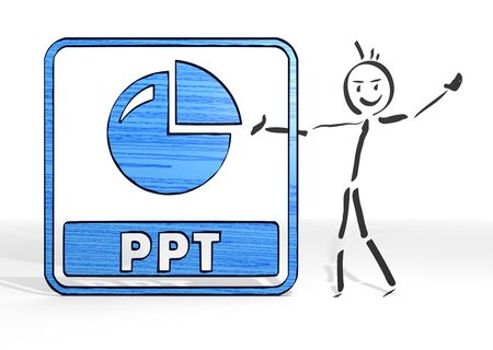 ppt: simple stick man presents a ppt sign white background