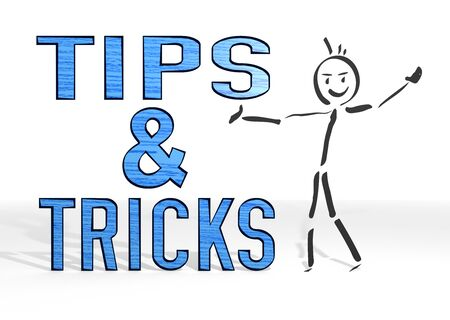 hand drawn stick man presents a tips sign white background photo