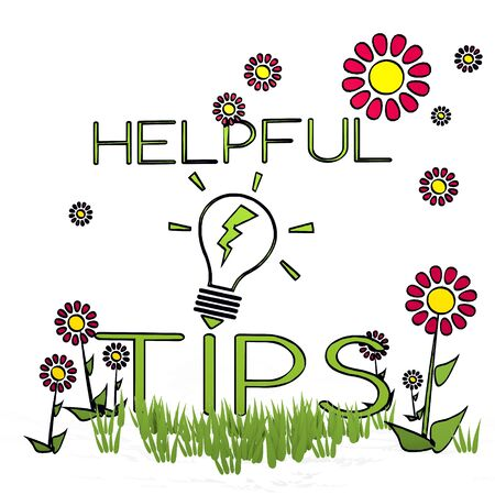 spring flower hand drawn sketch of helpful tips with childish flowers on white background