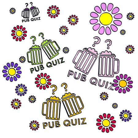 happy spring flower hand drawn sketch of four pub quiz with childish flowers on white background