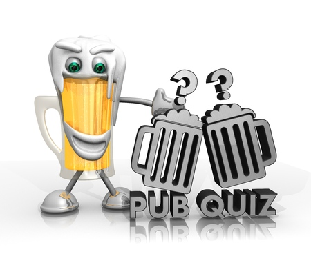 beer character presents a pub quiz symbol isolated on with background in 3d rendered style Stock Photo