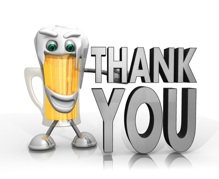 beer character presents a thank you sign isolated on with background in 3d rendered style photo