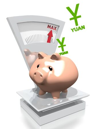 renminbi: illustration of a money China Yuan Renminbi pig with max weight on a scale isolated on white background