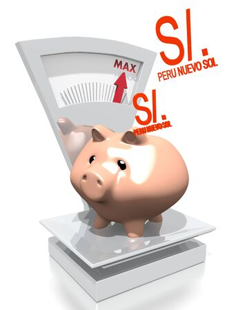 sol: illustration of a money Peru Nuevo Sol pig with max weight on a scale isolated on white background